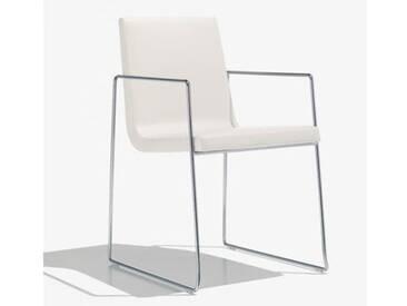 Andreu World Lineal Comfort Stuhl m Kufengestell u Arml. B:525 H:825 T:585mm chrom/weiß SO-0595#1800