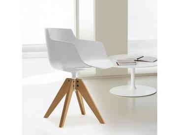 MDF Italia FLOW SLIM Sessel mit Füßen B: 560 H: 764 T: 560 mm, Schale weiß F054110F006S042S007