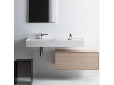 Kartell by Laufen Waschtisch B: 120 T: 46 cm, Becken links weiß mit Clean Coat, mit 1 Hahnloch H8133324001111