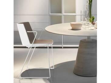 MDF Italia AÏKU Stuhl mit Armlehnen und Kufen B: 592 H: 780 T: 550 mm, weiß matt/weiß glanz/taubengrau F058103F065S007