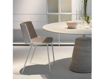 MDF Italia AÏKU Stuhl mit keilförmigen Beinen B: 580 H: 780 T: 550 mm, weiß matt/weiß glanz/taubengrau F058105F065S007