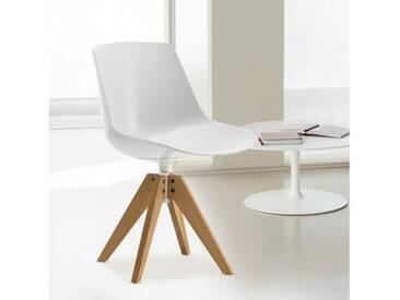 MDF Italia FLOW Stuhl mit Füßen B: 560 H: 805 T: 560 mm, Schale weiß F052118F006S042S007