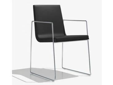 Andreu World Lineal Comfort Stuhl m Kufengestell u Arml. B:525 H:825 T:585mm chrom/schwarz SO-0595#1824