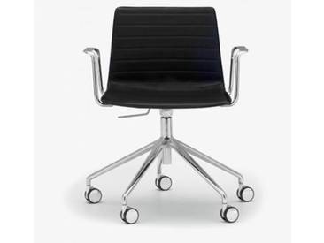 Andreu World Flex High Back Stuhl m Rollen u. Arml B:665 H:755 T:610mm, aluminium poliert/schwarz SO-1659#Fuß#alu.pol.#Steppnaht#1824