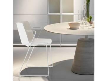 MDF Italia AÏKU Stuhl mit Armlehnen und Kufen B: 592 H: 780 T: 550 mm, weiß matt/weiß glanz/hellgrau F058103F064S007