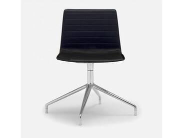 Andreu World Flex High Back Stuhl B: 505 H: 810 T: 515 mm, aluminium poliert/schwarz SI-1638#Fuß#alu.pol.#Steppnaht#1824