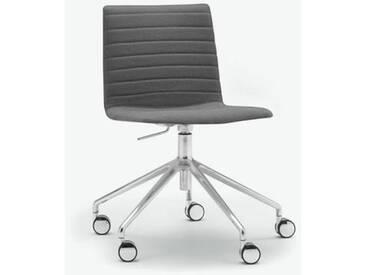 Andreu World Flex High Back Stuhl mit Rollen B: 665 H: 755 T: 610mm, aluminium poliert/grau SI-1656#Fuß#alu.pol.#Steppnaht#173