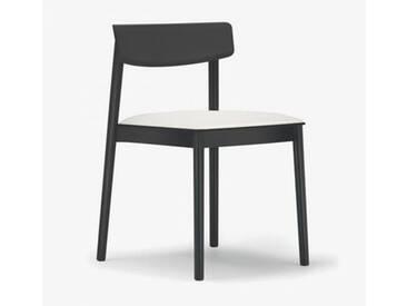 Andreu World Smart Stuhl mit Sitzpolster B: 500 H: 760 T: 485 mm, schwarz/weiß SI-0611#381#1800