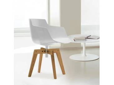 MDF Italia FLOW SLIM Sessel mit Füßen B: 550 H: 764 T: 547 mm, Schale weiß F054111F006S042S007
