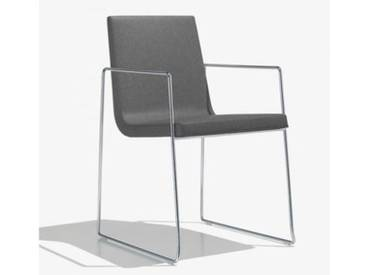 Andreu World Lineal Comfort Stuhl m Kufengestell u Arml. B:525 H:825 T:585mm chrom/grau SO-0595#173