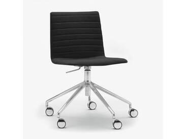 Andreu World Flex High Back Stuhl mit Rollen B: 665 H: 755 T: 610mm, aluminium poliert/schwarz SI-1656#Fuß#alu.pol.#Steppnaht#191