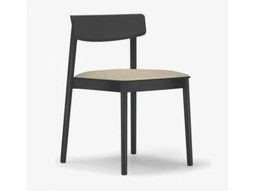 Andreu World Smart Stuhl mit Sitzpolster B: 500 H: 760 T: 485 mm, schwarz/creme SI-0611#381#1805