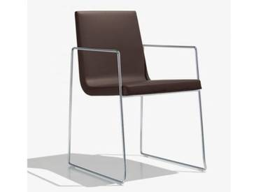 Andreu World Lineal Comfort Stuhl m Kufengestell u Arml B:525 H:825T:585mm chrom/dkl.braun SO-0595#1818