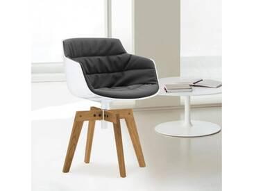 MDF Italia FLOW SLIM Sessel B: 550 H: 764 T: 547 mm, weiß/dkl.grau F054181C006R062F006S042S007
