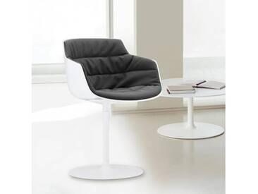 MDF Italia FLOW SLIM Sessel mit Mittelfuß B: 550 H: 764 T: 540 mm, weiß/dkl. grau F054175C006R062F006S006