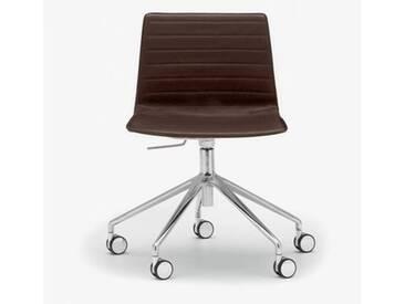 Andreu World Flex High Back Stuhl mit Rollen B:665 H:755 T:610mm, aluminium poliert/dunkelbraun SI-1656#Fuß#alu.pol.#Steppnaht#1818