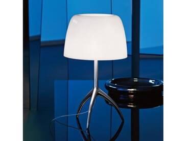 Foscarini Lumiere 05 piccola Tischleuchte mit Dimmer Ø 20 H: 45 cm, alum. poliert/weiß 0260012R211D, EEK: C