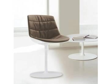 MDF Italia FLOW Stuhl mit Mittelfuß B:530 H:805 T:540 mm weiß glanz/weiß/taupe F052176C006R304F006S006