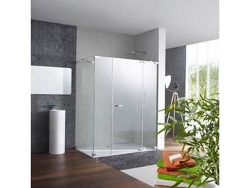 Hüppe Studio Paris Schwingtür mit festem Segment mit Nebenteil, Seitenwand 90-120 cm ESG klar / chrom, Rechtsbefestigung PR0199C91322