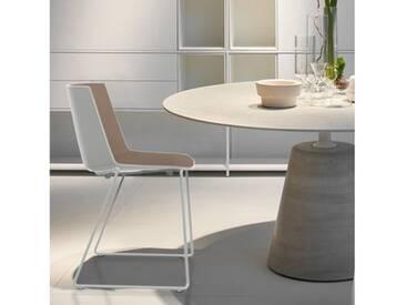 MDF Italia AÏKU Stuhl mit Kufen B: 592 H: 780 T: 550 mm, weiß matt/weiß glanz/taubengrau F058102F065S007