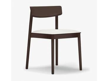 Andreu World Smart Stuhl mit Sitzpolster B: 500 H: 760 T: 485 mm, dunkelbraun/weiß SI-0611#372#1800