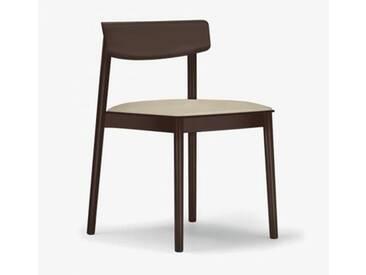 Andreu World Smart Stuhl mit Sitzpolster B: 500 H: 760 T: 485 mm, dunkelbraun/creme SI-0611#372#1805