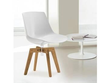 MDF Italia FLOW Stuhl mit Füße B: 547 H: 805 T: 547 mm, eiche/weiß F052119F006S042S007