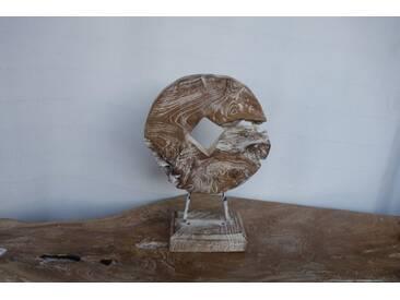 TEAK Skulptur WAGENRAD Treibholz Schwemmholz Aufsteller Altholz Deko Rustikal 034