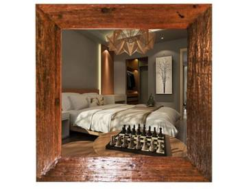 Teak Holz Wandspiegel 100x100 Massiv Altholz Natur Antik Rustikal G086