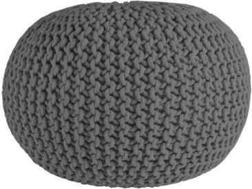 Strickpouf Cotton, handgearbeitetes Sitzkissen aus Baumwolle - Grau Ø55 cm