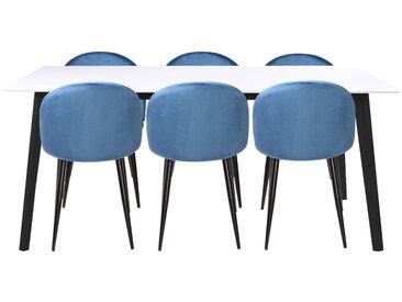 Essgruppe | Esstisch Weiß mit 6 Samt Stühlen Blau - Malte & Alice
