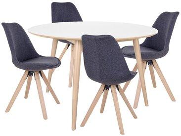 Essgruppe | Esstisch Weiß Rund mit 4 Stühlen Grau - Nora