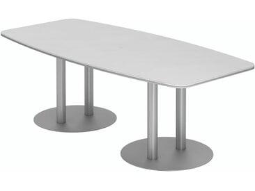 EXPRESS KT Konferenztisch in Fassform mit Tellerfüßen, silber b220xt103/83cm