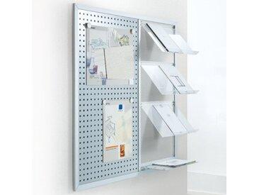 XELLO-MEA Prospekthalter mit Magnettafel für Wand, b120xt24xh120cm