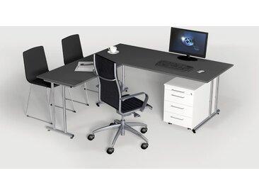 ARTLINE Büromöbel Set, 1 Arbeitsplatz mit Anbautisch, 300x250