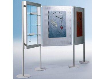 THEMA Stellwandsystem mit Einhängevitrine und 2 Metall-Präsentationsboards