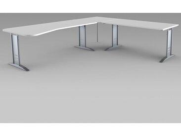 TEC-ART Ergoschreibtisch mit Anbautisch, 195/160x80-100/80cm