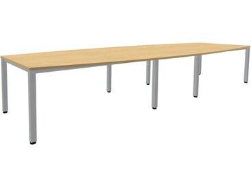 EXPERT Konferenztisch mit Quadratrohrgestell, Bootsform, 80-140cm tief, 240-400cm breit