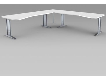 TEC-ART Ergoschreibtisch mit Ergoanbautisch, 195/195x80-100/80-100cm
