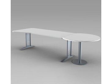 TEC-ART Ergoschreibtisch 195cm breit, mit rundem Besprechungstisch