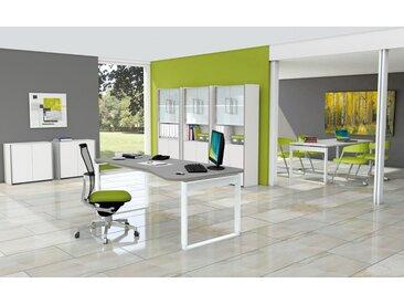 FRESH Büromöbel Set, 1 Arbeitsplatz, 320x450cm + 1 Besprechungstisch b180xt90cm