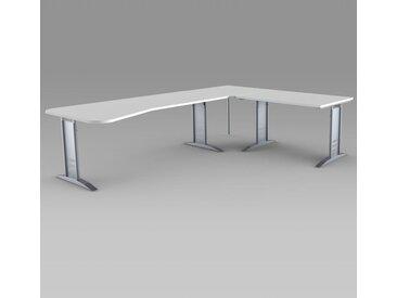TEC-ART Ergoschreibtisch mit Anbautisch, 195/120x80-100/80cm