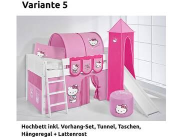 Hochbett Spielbett IDA Hello Kitty Rosa, mit Turm, Rutsche und Vorhang, weiß, Variante 5 - Rosa
