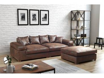 Big Sofa Megasofa Riesensofa Arezzo - Vintage Hellbraun inkl.Hocker