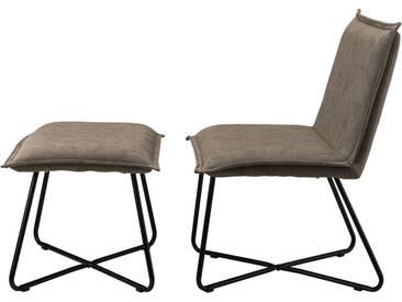 [en.casa]® Sessel mit Fußhocker im Set dunkelbraun - Wildlederimitat - Eisengestell
