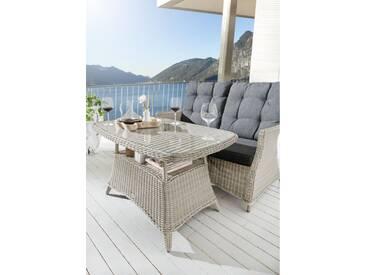 Gartentisch Loungetisch Casa II Vintage Weiß Tisch Polyrattan Esstisch 120 x 75 cm - Weiß