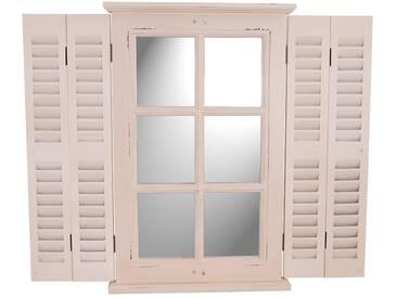 Spiegel Karlum cremeweiß Landhaus Hängespiegel Wandspiegel Deko Flur Diele Fensterrahmen