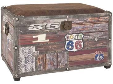 Truhenbank Sitztruhe Truhe gepolsterter Sitz Vintage 65x42x40cm