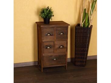 Kommode Schrank Regal Sideboard Holz Nachttisch Braun Shabby Vintage Stil - Braun