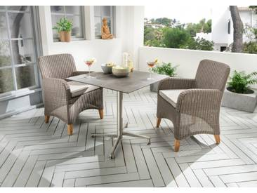 Destiny Long Island Sessel - Loft Tisch Balkonset HPL Platte Gartentisch 70x70 Edelstahl - Edelstahl